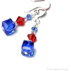 Swarovski Red and Blue Earrings - Earrings -