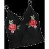 SweatyRocks Women's Embroidered Cami - Camicia senza maniche -