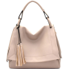TAUPE FRONT FLAP DOUBLE TASSEL SATCHEL H - Hand bag - $55.00