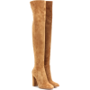 Tan Over Knee Suede Boots - Čizme -