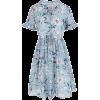 Tie Neck Printed Chiffon Mini Dress - Dresses -