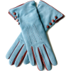 Blue leather gloves - グローブ -
