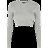 Topshop Grey Crop Top - Long sleeves shirts -