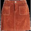 Topstitch Detail Suede Miniskirt BLANKNY - Skirts -