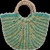 Turquoise Straw Tote Bag - Hand bag -