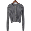 Twisted woven hollow long-sleeved sweate - Cardigan - $35.99