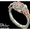 Unique Floral Halo Morganite Engagement - Rings - $1,599.00