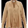 VICTORIA BECKHAM V-neck striped silk-cre - Long sleeves shirts -