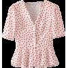 V-Neck Front Button Down Shirt Top - 半袖衫/女式衬衫 - $25.99  ~ ¥174.14