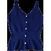 V-Neck Large Halter Single-Line Buttoned - Vests - $25.99