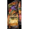 Versace - Asymmetric velvet dress - Платья -