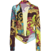 Versace Plunging Satin Collared Bodysuit - Koszule - długie -