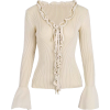 Vintage Deep V Lace Collar Trumpet Sweat - Cardigan - $29.99
