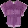 Violet Silk Chiffon Raphael Blouse - Hemden - kurz -