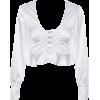 V-neck exposed navel ruffled long-sleeve - Hemden - lang - $25.99  ~ 22.32€
