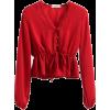 V-neck lace stitching drawstring tie wit - Camisas manga larga - $19.99  ~ 17.17€