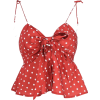 V-neck printed sling knotted with floral - Tanks - $25.99