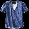 V-neck short-sleeved shirt - Shirts - $25.99