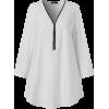 V-neck zipper blouse - Koszule - długie -