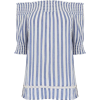 WAREHOUSE Stripe Cheesecloth Bardot Top - Camisas - £23.20  ~ 26.22€