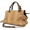 WINDA Oversize Beige Faux Crocodile / Leopard Animal Print Accents Double Top Handle Top Closure Shopper Tote Hobo Shoulder Bag Handbag Purse - Torbice - $35.50  ~ 30.49€