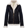 WOMEN B3 SHEARLING BLACK HOODED BOMBER JACKET - Jacket - coats - $354.00