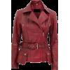 WOMENS MAROON BIKER LAMBSKIN LEATHER JACKET - Jacket - coats - 227.00€  ~ $264.30