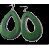 WOODEN OVAL DROP EARRINGS-GR - Earrings - $6.99