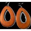 WOODEN OVAL DROP EARRINGS-OR - Earrings - $6.99