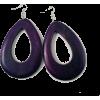 WOODEN OVAL DROP EARRINGS-PUR - Earrings - $6.99