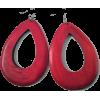 WOODEN OVAL DROP EARRINGS-RD - Earrings - $6.99