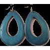WOODEN OVAL DROP EARRINGS-TQ - Kolczyki - $6.99  ~ 6.00€