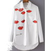 White Lapel Lips Print Loose B - Koszule - długie -