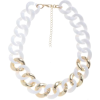 White and Gold Chunky Chain Necklace - Necklaces -