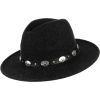 Wide Brim Wool Felt Fedora Hat with Silv - Cappelli -