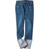 Wide Roll Up Straight Denim Pants - Jeans -