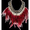 Wine Red Feather Tassel Stone Statement - Ожерелья -