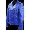 Women Blue Brando Belted Leather Jacket - Jacket - coats -