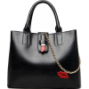Women Casual Black Faux-Leather Handbag - Torby z klamrą -