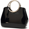 Women Shiny Glossy Faux-Leather Handbag - Torbe s kopčom -