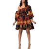 Womens African Print Street Style Dresse - Dresses - $28.00