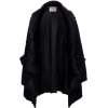 Womens Black Fur Cape Jacket - Jacket - coats -