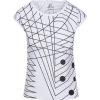 Women's Black White Geometric Graphic Pr - T-shirt - $46.00  ~ 39.51€
