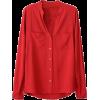 Womens Plain V Neck Single-breasted Long - Long sleeves shirts -