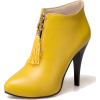 Women's Yellow Boots High Heel Pointed T - Boots - $45.73