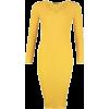 Yellow Long Sleeve Sweater Dress - Платья -
