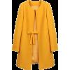 Yellow Ribbon Bow Belted Pea Coat - Giacce e capotti -