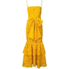 Yellow Spaghetti Strap Lace Dress - Платья -