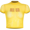 Yellow letter openwork mesh top - Shirts - $17.99