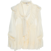 ZIMMERMANN Pussy-bow flocked silk-blend - 長袖シャツ・ブラウス -